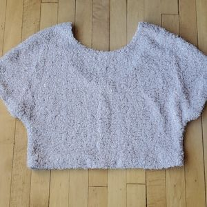 Cropped Sequin Sweater Sz S